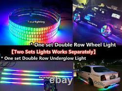 15.5Double Row Chasing LED Wheel Lights Set & Underglow Strips Works Separately