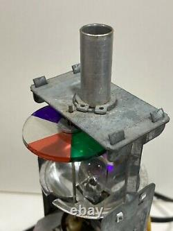 1970s ROTATING COLOR WHEEL LAMP LIGHT 9 1/4 TALL BLACK WITH CHROME WORKS