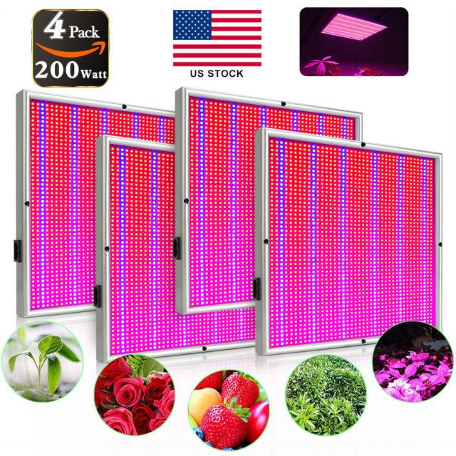 200w Led Grow Light Panel Red Blue Hydroponic Lamp For Plant Veg Growing 1/2/4pc