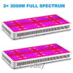 2× 3000W LED Grow Light Full Spectrum Lamp for Hydroponics Indoor Plant Growing