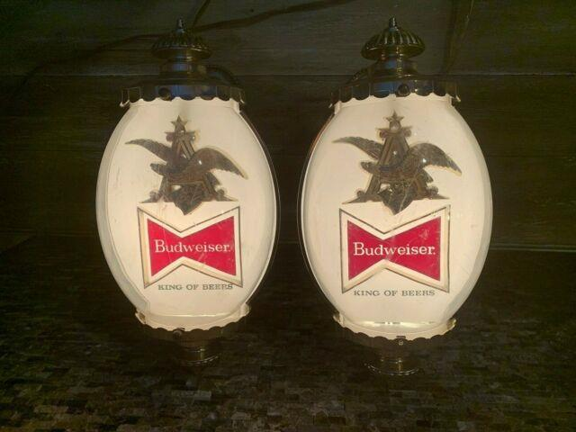 2 Budweiser Vintage Beer Lighted Sconce Sign Works 1964 Lamp Light Bubble Style