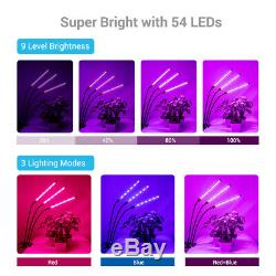 45W 3 Head LED Plant Grow Dimmable Light Lamp for Indoor Plants Hydroponics US