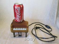 Amber Glass PIANO SHAPED Electric Table Lamp Nightlight Light WORKS Music Lover