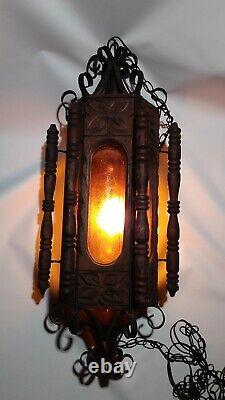 Antique Spanish Revival Hanging Lamp (1960s / 1970s) works great
