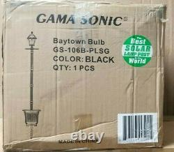Baytown Bulb Solar Warm-White Outdoor Black Integrated LED Lamp Post with Plante