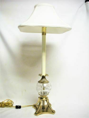 Frederick Cooper Crystal Brass Candlestick Table Lamp Light & Shade Works 24 ½