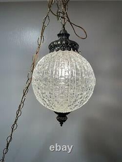 Mid Century MCM Hanging Lamp Swag Light Glass Globe Textured Clear Pendant Works