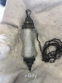 Nice Real Clear Vintage Hanging Swag Lamp Light With Diffuser Tested Works