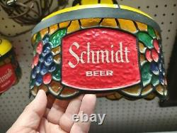 PAIR Schmidt Beer Light Faux Stained Glass Hanging Lamps Tiffany Style Works GUC
