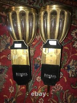 Pair Large Bombay Gold Brass & Glass Sconce Wall Lamp Candle light Plant Hanger