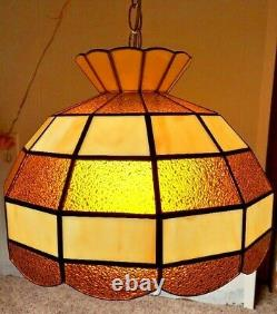 Tiffany Style Brown and Beige 15 Hanging Ceiling Lamp Light Mid Century Works