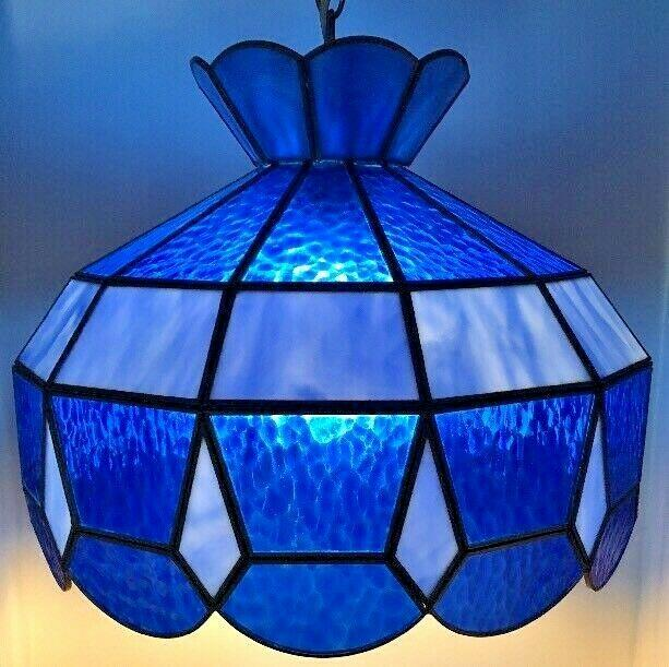 Tiffany Style Hanging Lamp Blue & Baby Blue 16 Shade Light Scallop Look Works