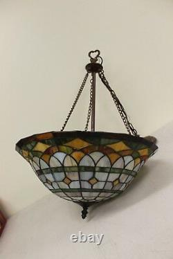 Tiffany Style Stained Glass Chandelier Hanging Lamp TESTED & WORKS 3 Bulb 19