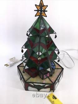 Tiffany Style Stained Glass Christmas Tree Table Light Lamp 13 Presents Works