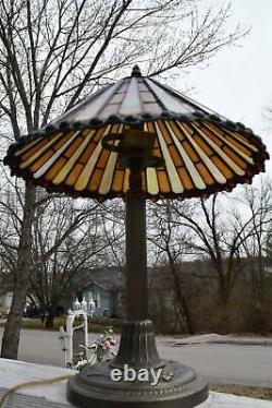 Tiffany Style Stained Glass Table Multi Colored Lamp Light Tested & Works