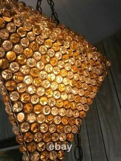 VINTAGE 1950's Hanging Swag Lamp Yellow Gold Clear CRACKLED GLASS MARBLES Works