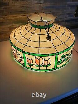 VINTAGE DRINK COCA COLA TIFFANY STYLE HANGING LAMP LIGHT WORKS. Not Glass