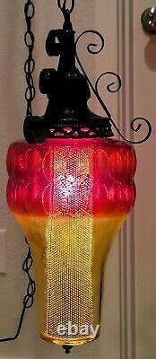 VTG Red & Yellow Glass Gothic Swag Hanging Lamp Works Clean