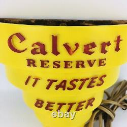 Vintage 1950s Calvert Reserve Lighted Wall Lamp Bar Sign Canadian Whiskey Works