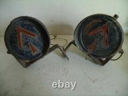 Vintage 40's 0r 50's turn signals Pair Amber glass lenses. Steel housing. Works