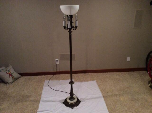 Vintage 4 Light Torchiere Floor Lamp Brass/cast Iron-marble Base, 2 Shades-works