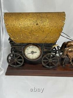 Vintage 50s Horse Drawn Covered Wagon United 550 Lamp Clock Works 20L 5W 10H