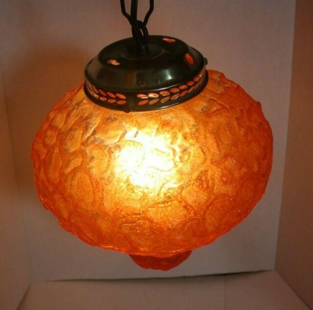 Vintage'60's / 70's Swag Lamp Hanging Chain Light, Amber Glass Works Great