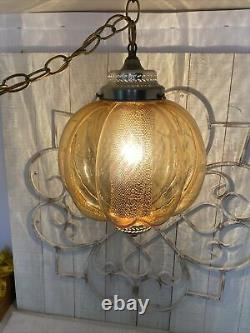 Vintage Amber Swag Lamp Glass Globe/Round Retro withChain- 1960's-1970's WORKS