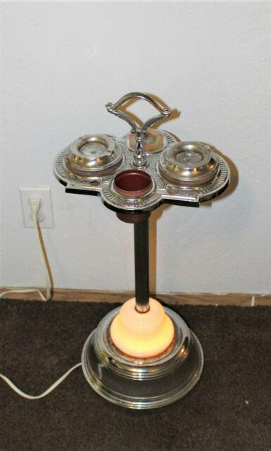 Vintage Art Deco Smoking Stand Lamp Onyx Glass Playing Card Lighted Works