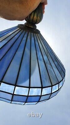 Vintage Blue STAINED GLASS HANGING LIGHT FIXTURE Metal pendant swag lamp WORKS