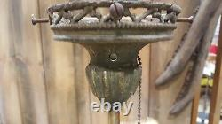 Vintage Brass Ashtray Art Deco Lighted Smoking Stand Edison Bulb Steampunk Works