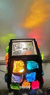 Vintage Chunk Glass Gothic Multi-Color Lamp by Peter Marsh Lighting Co. Works-MC