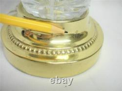Vintage DRESDEN Cut Crystal Glass Table Lamp Light Signed Oval 28 Tall Works
