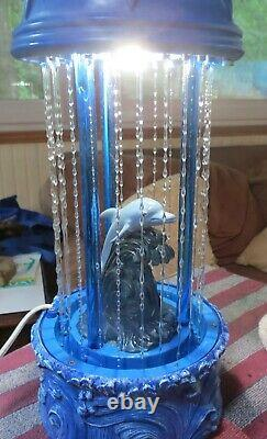 Vintage Dolphin Rain Fall Dripping Oil Lamp 16 high Cleaned Works Light Rare