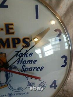 Vintage G-E Lamps Advertising bubble wall clock lighted 15 Telechron Works Rare