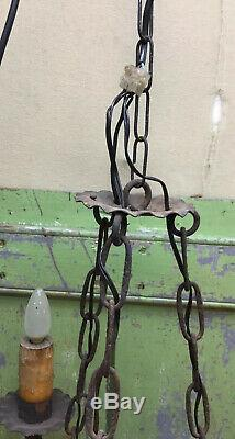 Vintage Gothic Mid Evil Style 3 Arm Chain Hanging Lamp Light Works