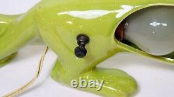 Vintage Green Ceramic Panther Cat Pottery TV Lamp Console Light 21 Long Works