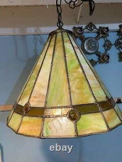 Vintage Green Slag Glass Hanging Lamp 15 Sections Works Hand Made B793