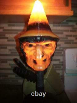 Vintage Halloween Bayshore 1960s Witch Lamp With Cauldron Blow Mold Light Works