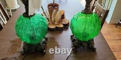 Vintage Mid Century Table Lamp Light Green Glass 3F Tall Retro WORKS