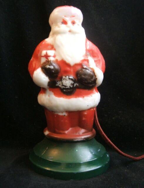 Vintage Milk Glass Painted Santa Claus Lamp Light 8 1/4 Inches Tall Works Scarce