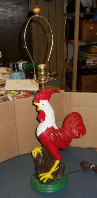 Vintage Old Chalkware Large Rooster Light Lamp Works Good Country Farm Decor