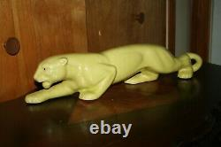 Vintage Panther TV Lamp Yellow Lighted Eyes Mid Century Tested And Works