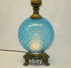 Vintage Retro Mid Century MCM Topaz Blue Glass Table Lamp withNight Light WORKS