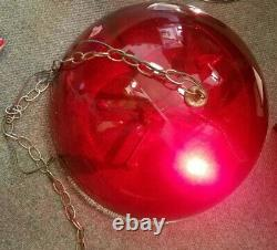 Vintage Retro RED Acrylic Hanging Swag Lamp Light withChain Works Awesome