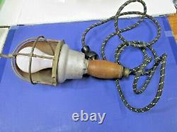 Vintage Russell& Stoll Co. Cage Light, Work Drop Lamp-brass & Wood & Steel-works
