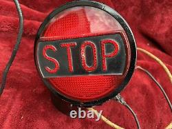 Vintage STOP Brake Light RED GLASS. Works Perfect 12 Volts