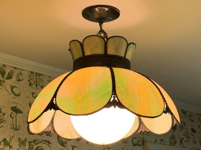 Vintage Tiffany Style Slag Leaded Stained Glass Ceiling Hanging Lamp Works