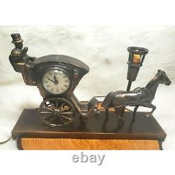 Vintage United Metal Clock Works Horse Carriage And Lamp Clock Model 701 Working