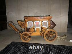 Vintage Wooden Western Covered Wagon Stagecoach Red Night Light LAMP WORKS 20